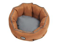 Lækker Buster cocoon hundeseng - Leather Brown/Steel grey