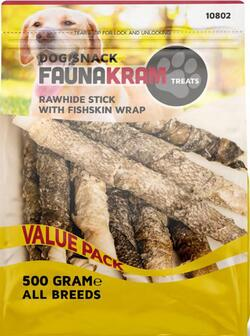 FAUNAKRAM Rawhide Stick With Fishskin  Wrap  XL - 500 g