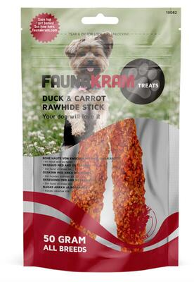 Faunakram, 50 g Dog Snack Rawhide Stick med and og gulerod