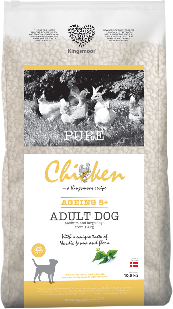 Image of 10,5 kg Kingsmoor Pure Dog Chicken age 8+ - Pure Senior Kingsmoor - mellem og store racer
