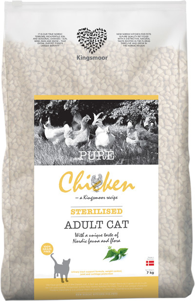 Image of   7 kg Kingsmoor Pure Cat Chicken sterilised - PURE KYLLING KINGSMOOR KATTEMAD TIL NEUTRALISERET KAT
