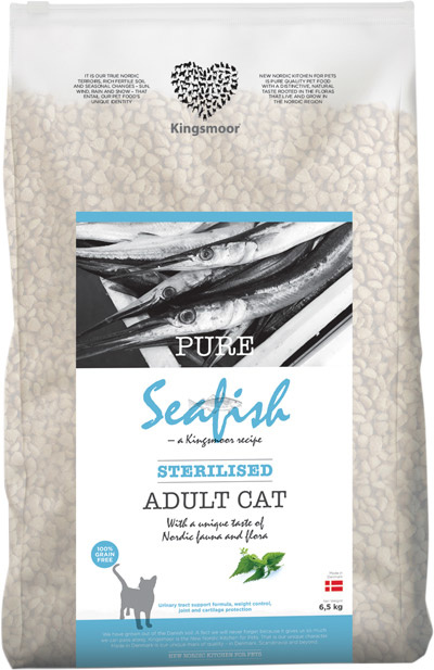 Image of 6,5 kg Kingsmoor Pure Cat Seafish sterilised - PURE HAVFISK KINGSMOOR KATTEMAD TIL NEUTRALISERET KAT