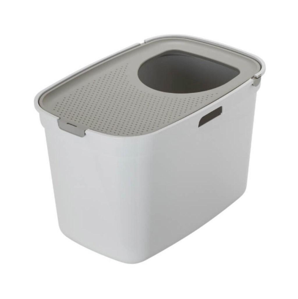 Top cat Toilet, fv. Hvid/Grå. Med åbning i top