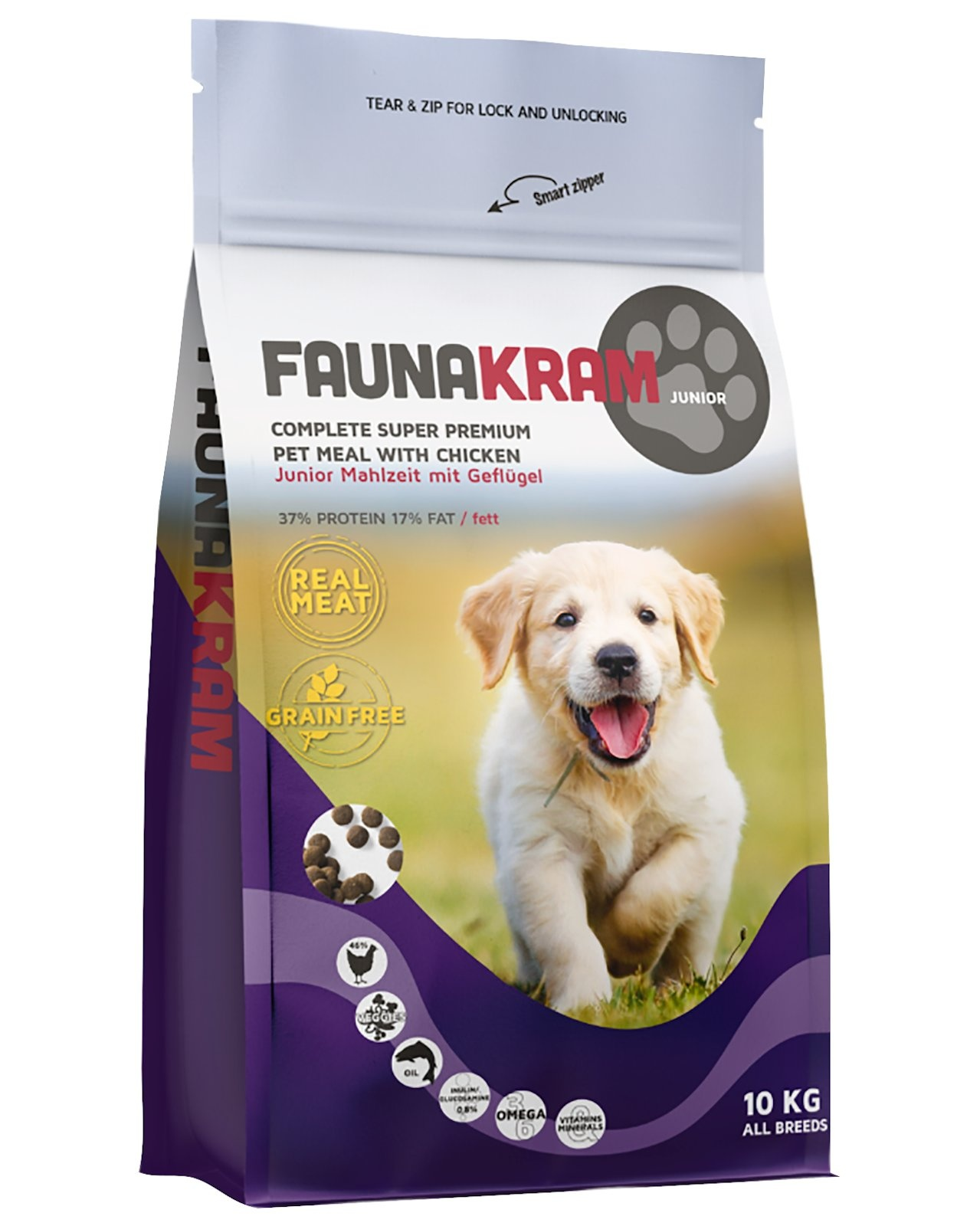 Image of   10 kg FAUNAKRAM Hvalpe/Junior foder kornfri