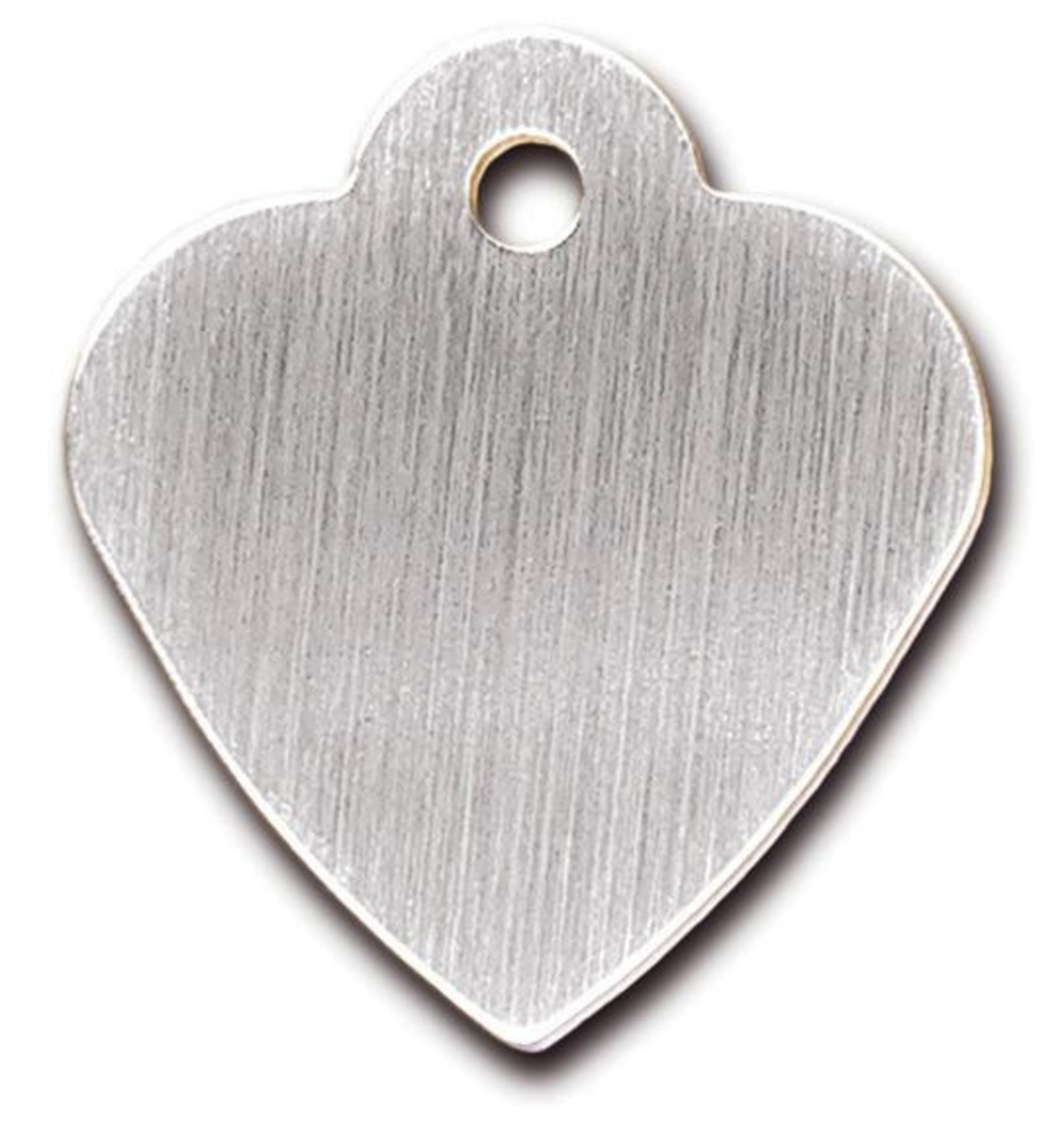 Heart small Brushed Chrome, hundetegn hjerte 29 mm thumbnail