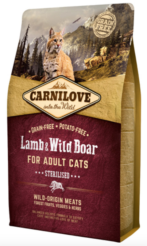 Image of   Carnilove Lamb og Wild Boar for Adult Cats - Sterilised 2 kg