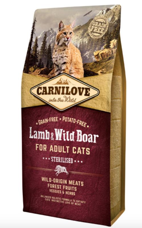 Image of   Carnilove Lamb og Wild Boar for Adult Cats - Sterilised, 6 kg - BEMÆRK INCL. GRATIS FRAGT OG OVERRASKELSE