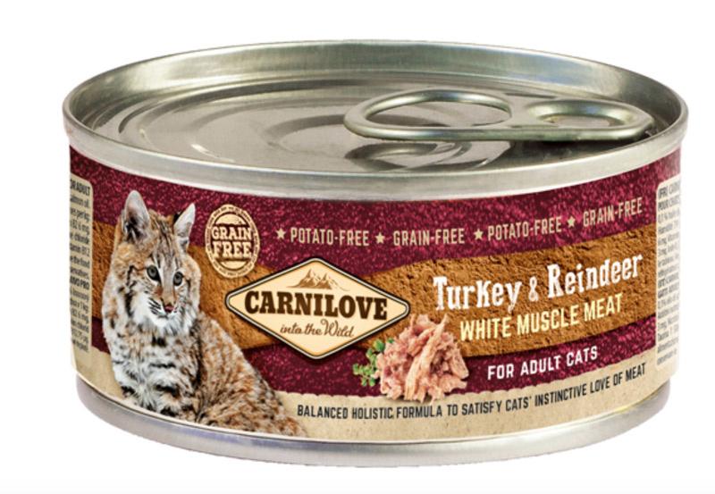 Image of   Carnilove Cat - Kalkun og Rensdyr Adult, 100 g - vådfoder