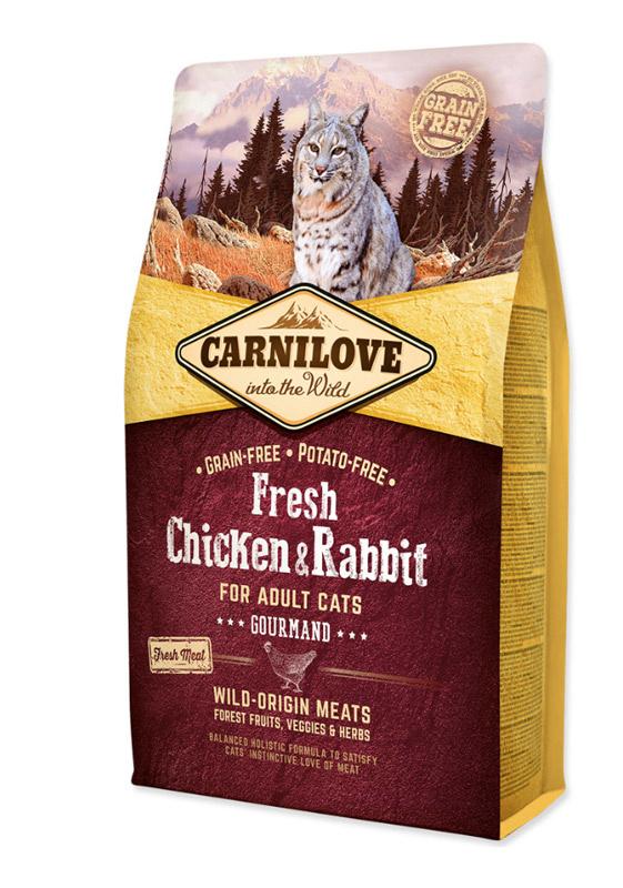 Carnilove Chicken & Rabbit For Adult Cats - med frisk og tørret kød, 6 kg - KORN og KARTOFFEFLFRI - BEMÆRK INCL. GRATIS FRAGT OG GODBIDDER thumbnail
