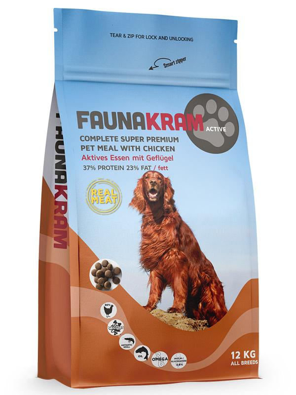 Image of   12 kg Faunakram Complete super Premium, AKTIV - med kylling - Glutenfri