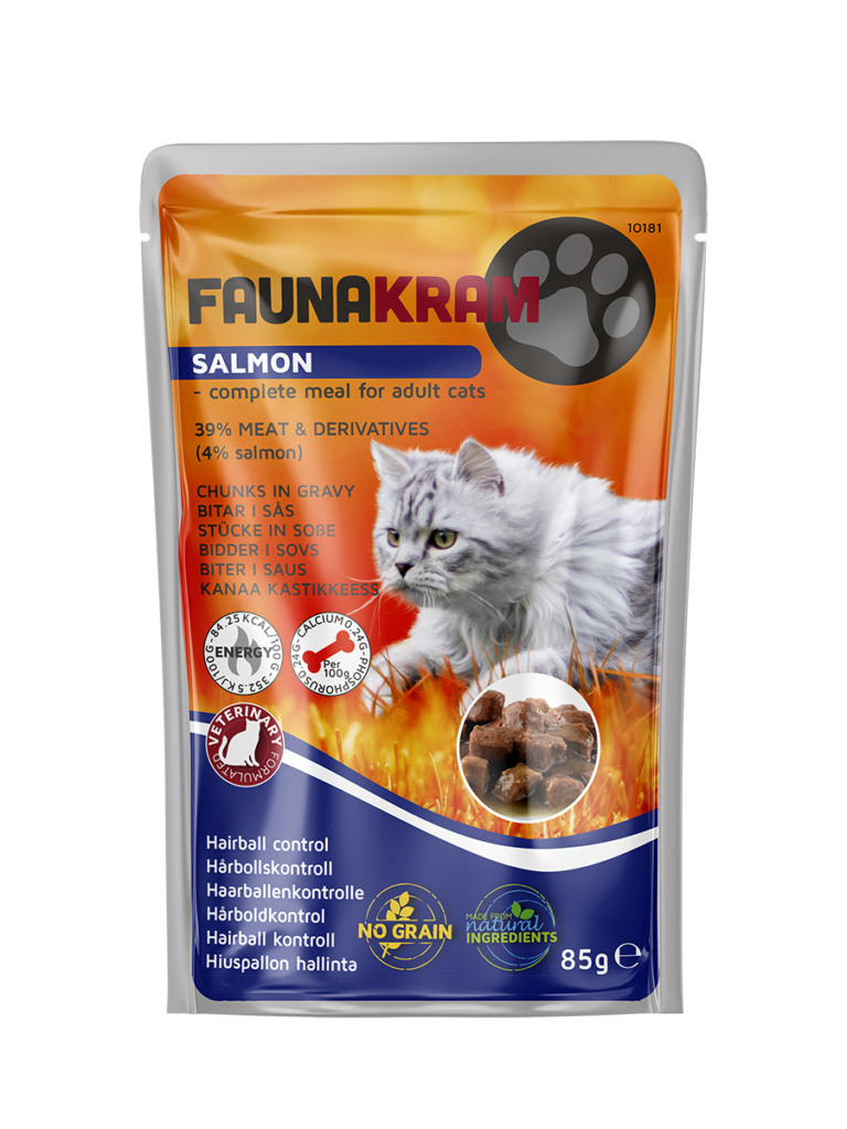 Faunakram Hairball control w. salmon wet cat grain free 85 g - Hårboldkontrol thumbnail