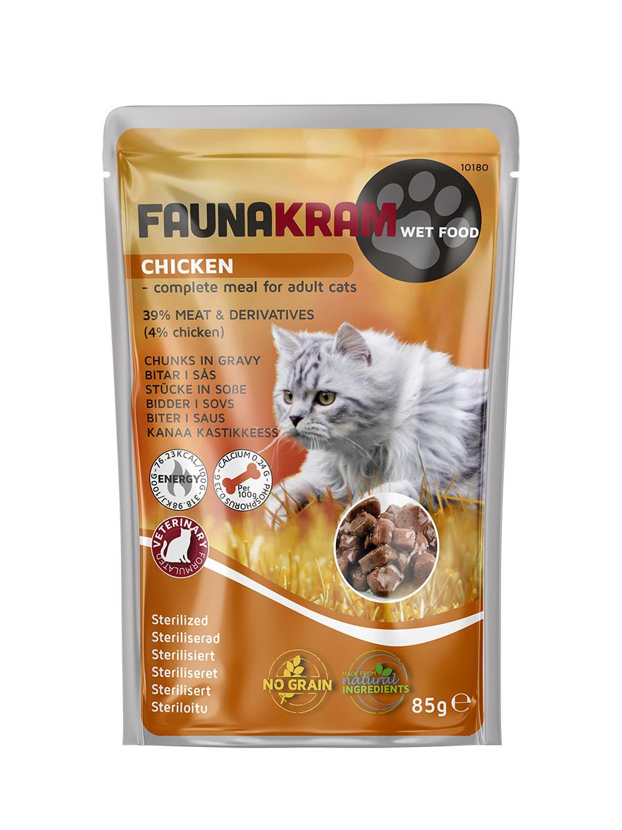Faunakram Wet Cat, chicken grain free - 85 g - til steriliserede katte thumbnail