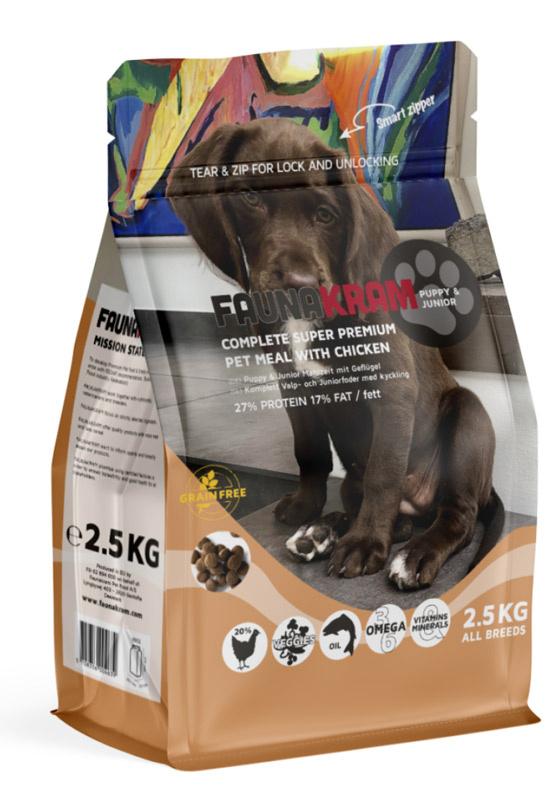 2,5 kg FAUNAKRAM Puppy Kornfri med Kylling thumbnail