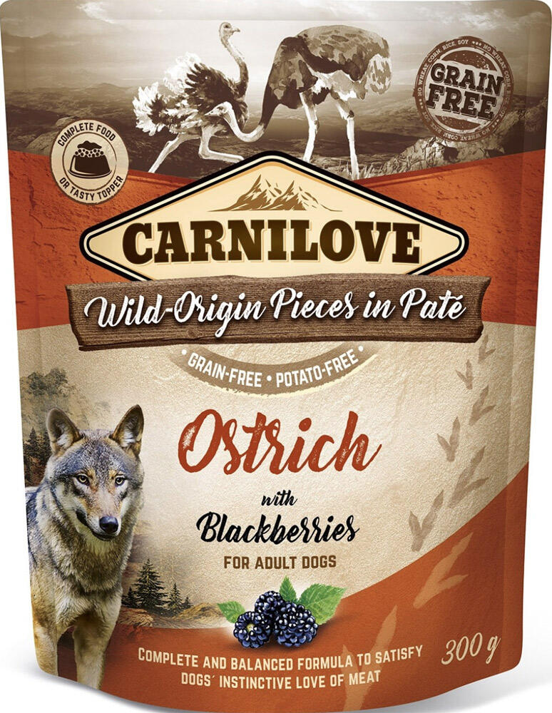 Carnilove Pouch Pate Ostrich With Blackberries - Kornfri, 300 g thumbnail