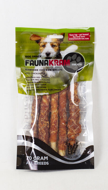 Faunakram dog snack, 70 g KORNFRI wrapped kyllingeben med 45% real meat thumbnail