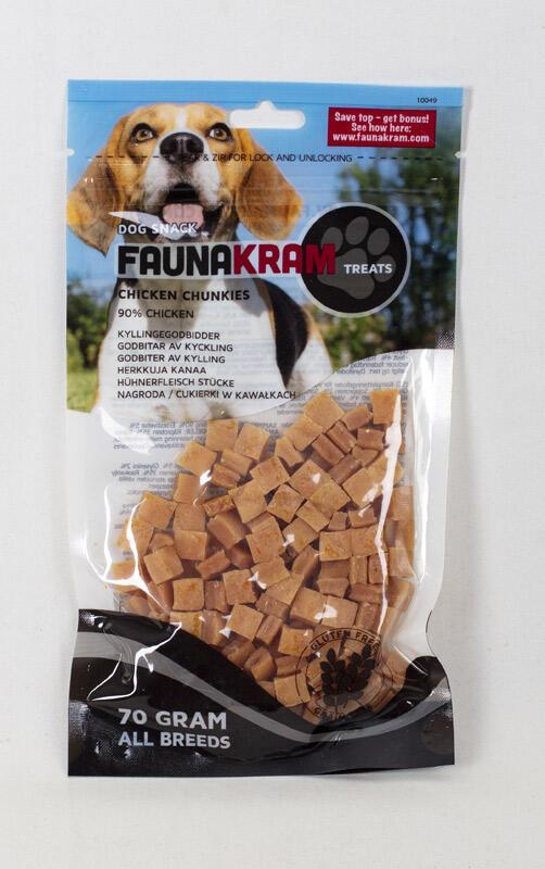 Faunakram, 70 g dog snack - real meat træningsgodbidder med 90% kylling thumbnail