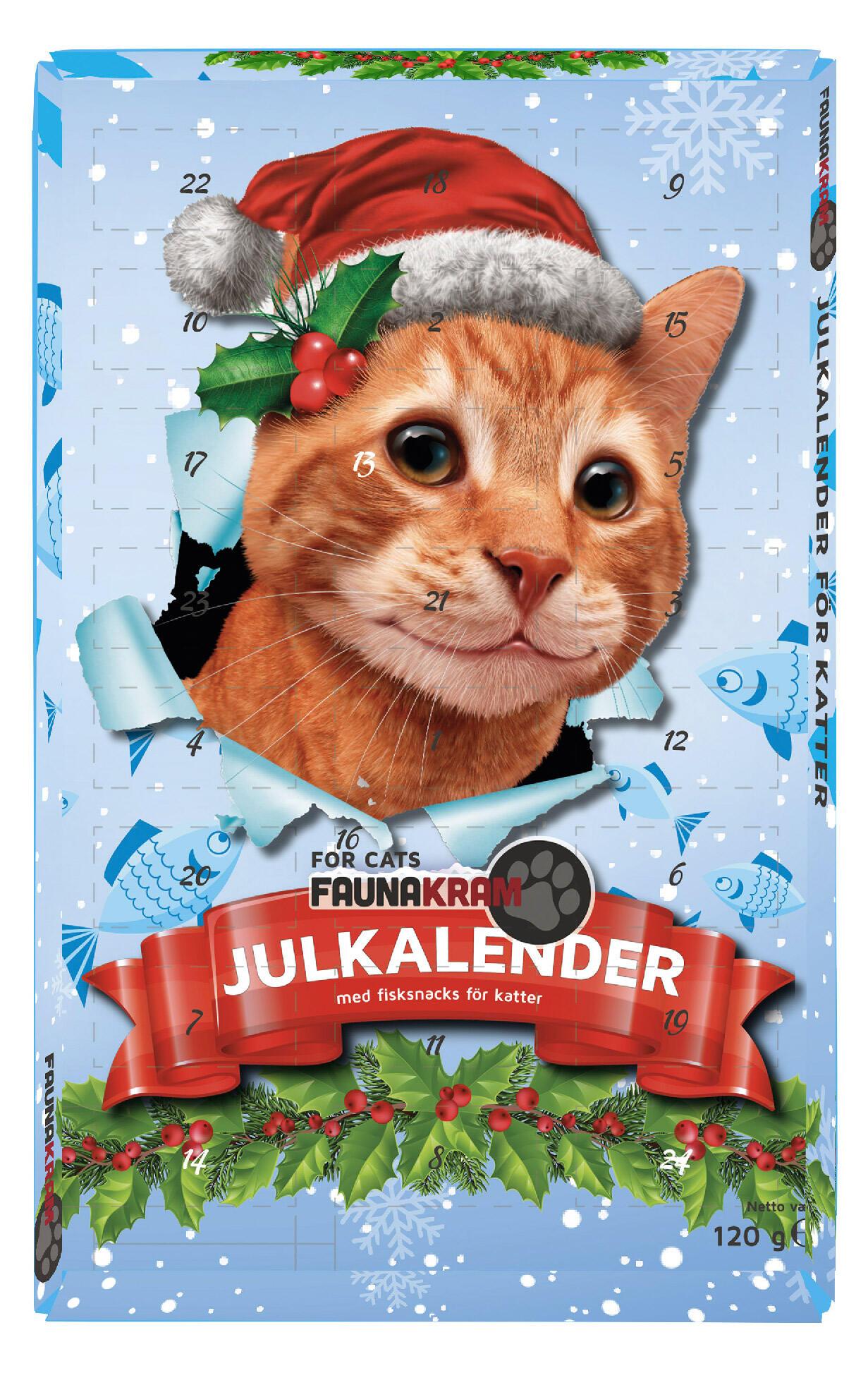 Faunakram 120 g Julekalender med 100% fisk, til kat